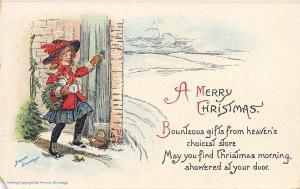 Frances Brundage~Victorian Christmas Girl Knocks on Door~Gifts~Wreath~Emb~1913