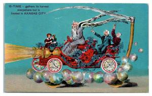 Father Time Scythe Car Priests of Pallas Parade Float Kansas City Postcard *4W