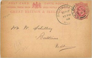 Entier Postal Stationery 1p Liverpool in 1908 for Baltimore