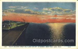 Sunset, Great Salt Lake, Utah, Usa Train Trains Locomotive, Steam Engine,  Po...