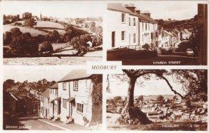 Modbury Devon 4x Real Photo Church Broad Street Postcard
