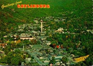 Tennessee Gatlinburg Greetings Aerial View