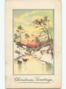 Pre-Linen christmas BRIDGE OVER ICY RIVER IN WINTER SCENE k0980