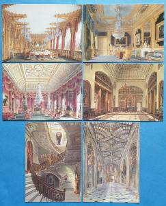 Set of 6 Postcards, THE ROYAL COLLECTION, Carlton House by Charles Wild 90Q