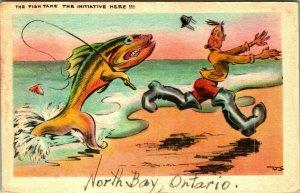 Comic Anamorphic Fish Take the Initiative Here Fishing 1947 Postcard