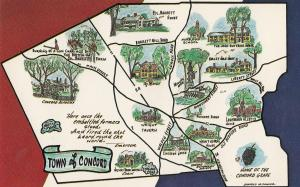 Town Of Concord Map Massachusetts Postcard