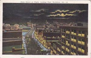 Illinois Rockford State Street At Night Looking East 1922