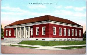 Lufkin, Texas Postcard U.S. Post Office Street View KROPP Linen c1940s