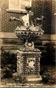 Vtg Postcard RPPC 1920s Dickeyville Wisconsin - Flower Pot Holy Ghost Church