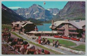 Swiftcurrent Lake Montana~Many Glacier Hotel~Standard Chrome Postcard