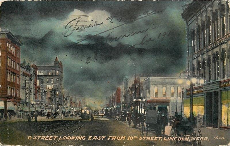 Lincoln NE~O Street East~Night Lights~Benway's~Trolley~Furniture~Hardware~1911