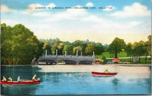 Postcard OK Oklahoma City Lagoon in Lincoln Park Boats Boating Posted 1945