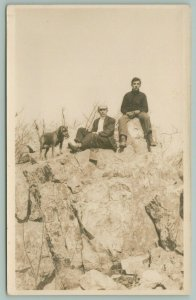 RPPC 2 Men, 1 w/Cigarette Holder, Camera, Derby~Female Black Lab w/Muzzle c1916
