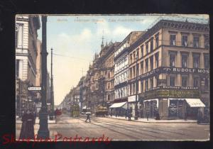 BERLIN GERMANY LEIPZIGER STRASSE RUDOLF HOS DOWNTOWN STREET VINGAGE POSTCARD