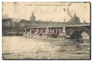 Old Postcard Lyon Bridge of the Guillotiere and the Hotel God
