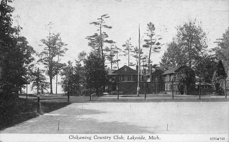 Lakeside Michigan~Chikaming Country Club~Horseshoe Pits? in Front~1937 Pc