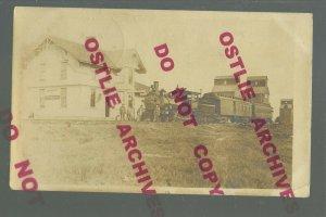 Linton NORTH DAKOTA RPPC 1913 DEPOT TRAIN STATION nr Strasburg Hazelton ZERCHER