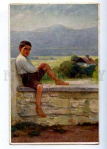 176827 Boy in Sunshine by ENGEL Vintage Colorful postcard