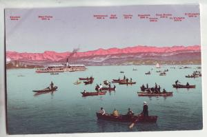 P1040 old card zurichsee und die alpen boats people mountains etc