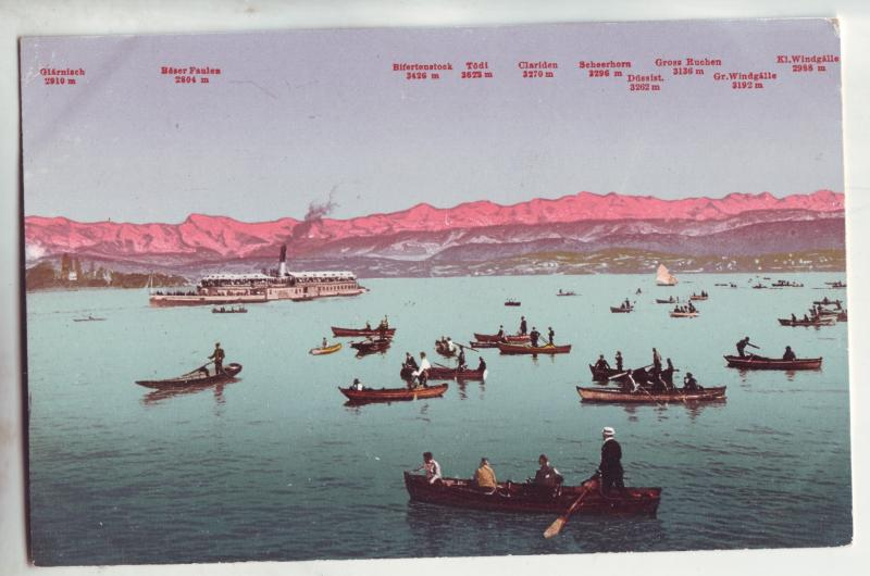 P1040 old card zurichsee und die alpen boats people mountains etc