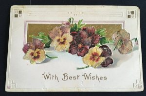 "Vintage glittered and embossed ""Best wishes"" greeting postcard, 1900's."