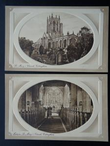 East Riding of Yorkshire COTTINGHAM 2 x St Mary's Church - Old Postcard