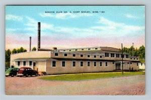 Camp Shelby MS-Mississippi, Service Club #3, Classic Car's, Linen Postcard