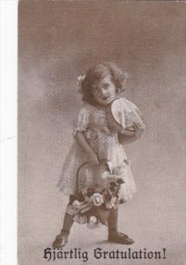 Hjartling Gratulation!, Girl holding basket of roses, 00-10s