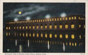 Iowa Keokuk Moonlight View Of Keokuk Power House Curteich