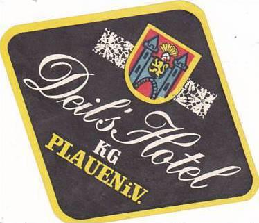 GERMANY PLAUEN DEIL'S HOTEL VINTAGE LUGGAGE LABEL