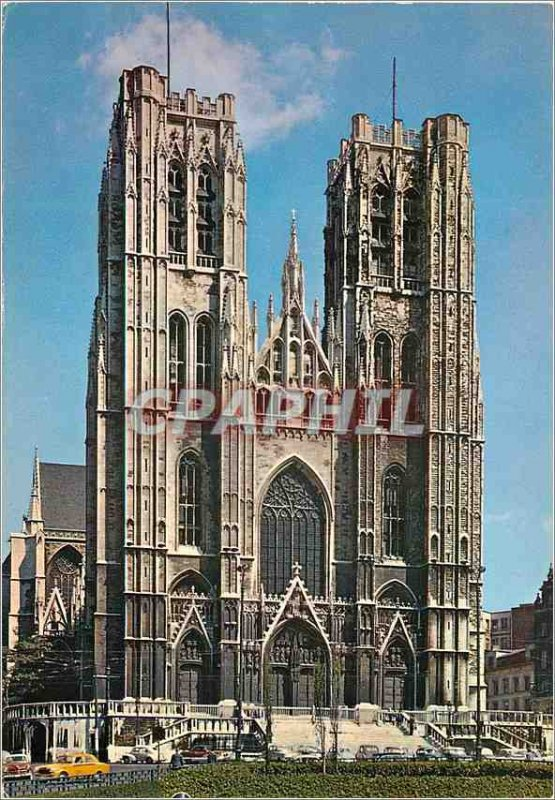 Postcard Modern Brussels cathedral Saint Michel