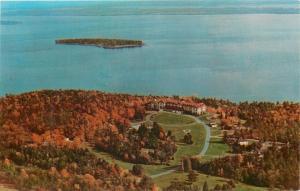 Plattsburgh New York~Clinton Community College~Island~Aerial View~1960s Postcard