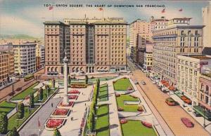 California San Francisco Union Square The Heart Of Downtown San Franisco 1943