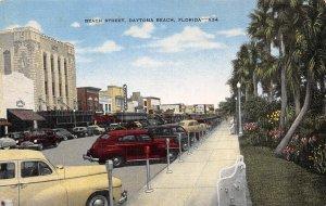 Beach Street Cars Daytona Beach Florida linen postcard