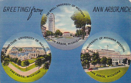 Michigan Multi View Greetings From Ann Arbor 1943