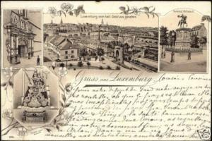 luxemburg, LUXEMBOURG, Panorama, Multiview (1896) Litho