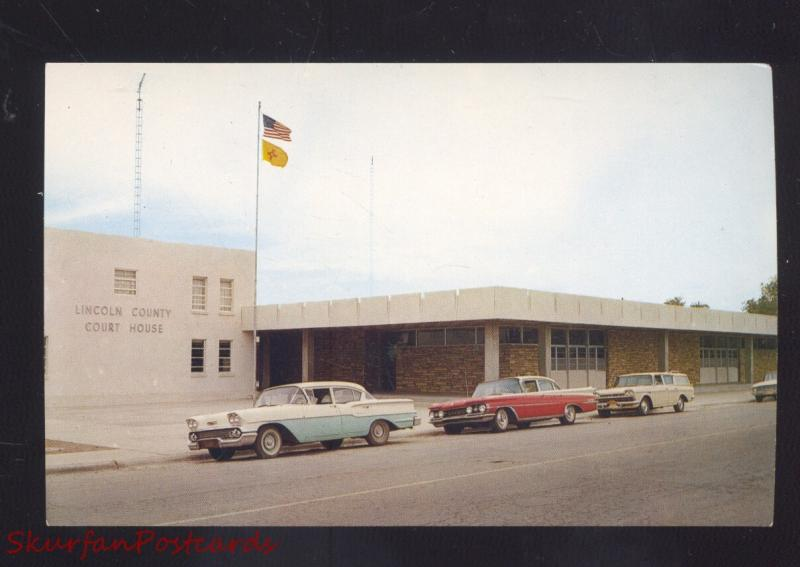 CARRIZOZO NEW MEXICO LINCOLN COUNTY COURT HOUSE 1960's CARS VINTAGE POSTCARD