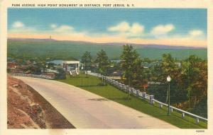 Port Jervis New York~Park Avenue High Point Monument In Distance~1940s PC