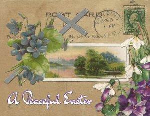 Single (1) Easter Greetings Postcards, Hand-designed Cards Vintage images Flower