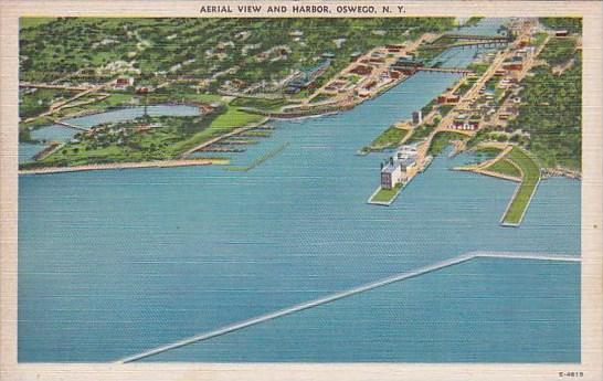 New York Oswego Aerial View And Harbor