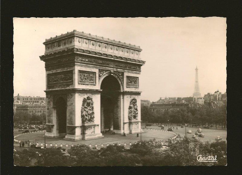 Paris LÁrc de Triomphe et al Place de l'Etoile Chantal Real Photo Postcard