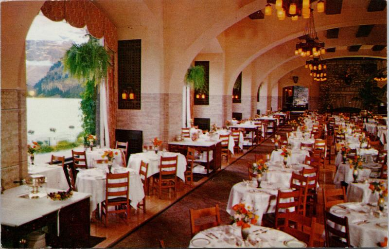 Dining Room Chateau Lake Louise Banff National Park Alberta AB Postcard D71