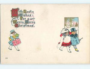 Pre-Linen christmas SERVANT CARRIES HAT BOX AND GIFTS BEHIND RICH KIDS hk9575