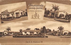 Yuma Arizona~Coronado Motor Hotel~Roadside Motel~1940s Sepia Litho Postcard