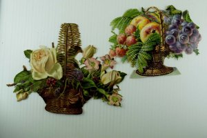 Lot Of 2 1880's-90's Large Victorian Die-Cuts Roses Fruit In Baskets Fab! *R