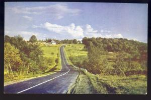 Maine/ME Postcard, Black Road Through Maine Countryside