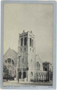 First M. E. Church Newark Ohio OH,.Clear view White border