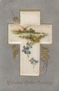 EASTER, 1900-10s; Lord is Risen, Satin Pillow, Windmill, Flowers