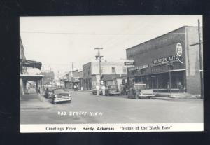 RPPC HARDY ARKANSAS 1950's CARS DOWNTOWN STREET SCENE REAL PHOTO POSTCARD