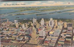 Florida Miami Aerial View The Magic City 1944